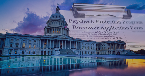 Double Exposure of Capital building in front of a PPP Loan Application that is Extended to August by Congress