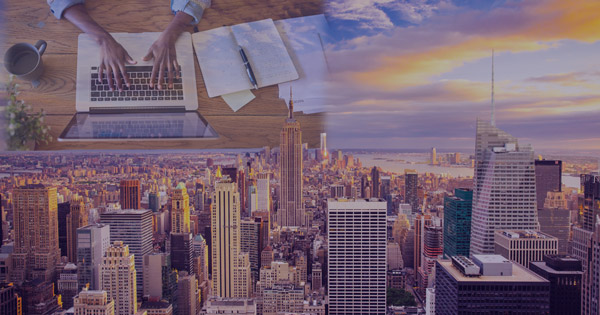 Double Exposure of a person working from home on top of NYC representing the New York Telecommuters Tax they will incur