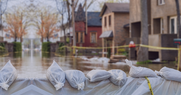 Homes with flooding in front of them that may be eligible for the casualty loss deduction.