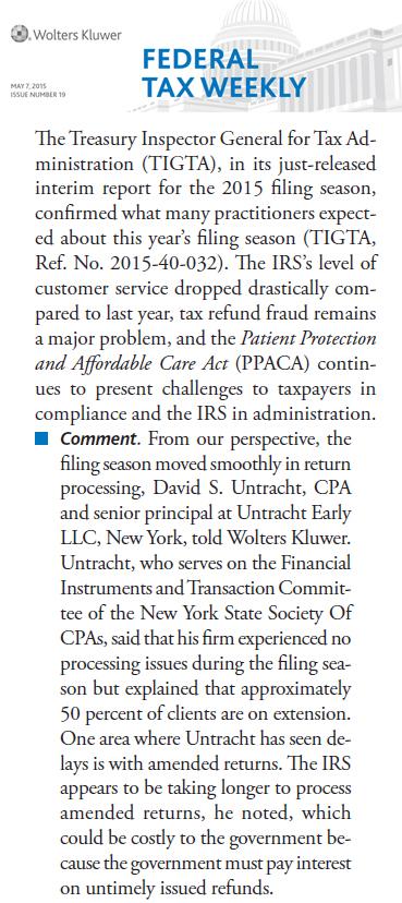 Untracht Early senior principal, Davis Untracht discusses the processing of amended tax returns in CCH Federal Tax Weekly